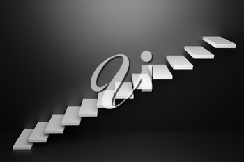 Ascending white stairs of rising staircase going upward in black empty room, 3D abstract illustration. Business growth, progress way and forward achievement in the dark creative concept.
