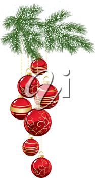 Vector illustration  Pine branch with red Christmas bauble