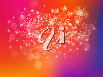 Merry Christmas Background with Snow and Lights. Vector illustration