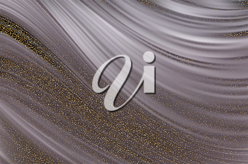 Abstract vector background, silver color flow liquid wave with gold sequins dust for design brochure, website, flyer. Stream fluid. Smooth texture. Fiber lines