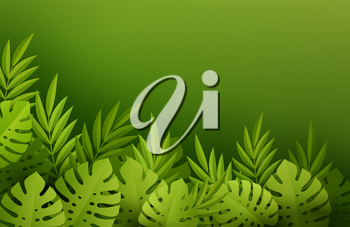 Green Summer Tropical Leaves. Paper cut style. Monstera and palm leaf. Tropic border. Vector illustration EPS10