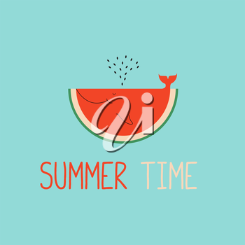 Royalty Free Clipart Image of a Piece of Watermelon on a Blue Background With the Words Summer Time
