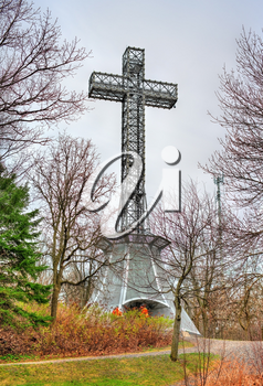 Montreal, Canada - April 30, 2017: The Mount Royal Cross, built in 1924