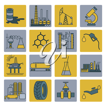 Chemical industry icon set. Colour version design. Vector illustration