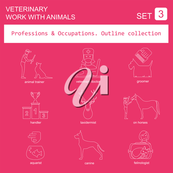 Professions and occupations outline icon set. Veterinary, work with animals. Flat linear design. Vector illustration