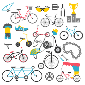 Bicycle icon set. Bike types. Vector illustration flat design