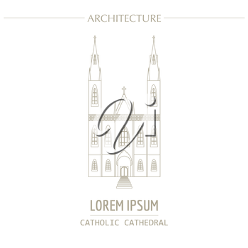Cityscape graphic template. Modern city architecture. Vector illustration of christian catholic cathedral. City constructor. Template with place for text. Outline version