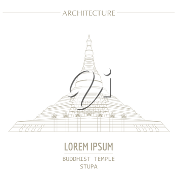 Cityscape graphic template. Modern city architecture. Vector illustration of Buddhist temple, stupa. City constructor. Template with place for text. Outline version
