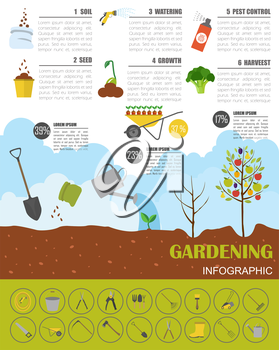 Gardening work, farming infographic. Graphic template. Flat style design. Vector illustration
