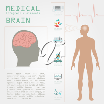 Medical and healthcare infographic, Brain  infographics. Vector illustration