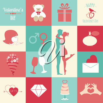 Valentine's day infographic. Flat style love graphic template. Vector illustration