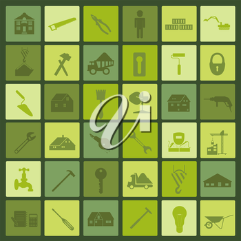 Set of house repair tools icons. Vector illustration