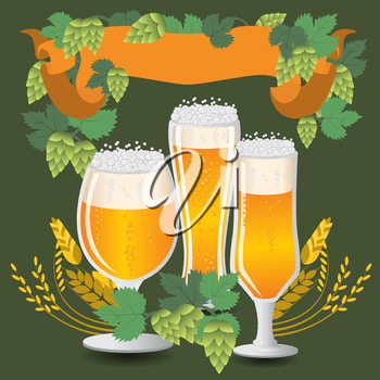 Glasses beer with wheat and hops. Vector illustration
