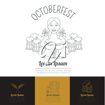 Beer icon set. Logos and badges template. Linear style. Octoberfest. Vector illustration