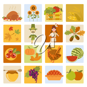 Thanksgiving day icon set. Flat style. Vector illustration
