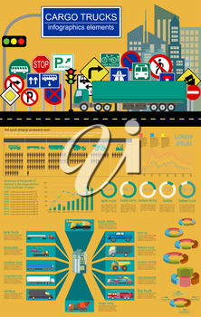 Cargo transportation infographics, trucks, lorry. Elements infographics.  Vector illustration
