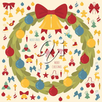 Christmas wreath, decoration elements set for  holiday greeting card, poster design. Vector illustration