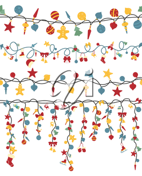 Christmas light garlands set. Colour isolated design seamless pattern. New year winter collection. Vector illustration