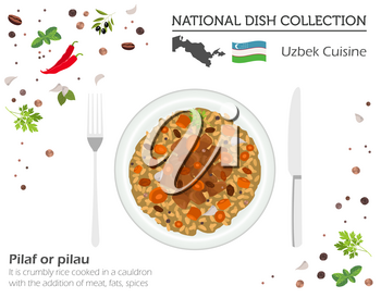 Uzbek Cuisine. Asian national dish collection. Pilaf isolated on white, infograpic. Vector illustration