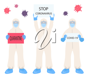 Corona virus. Doctor in protection suit. Quarantine, stop coronavirus epidemic design concept. Vector illustration