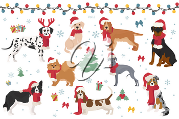 Dog characters in Santa hats and scarves. Christmas holiday design. Vector illustration
