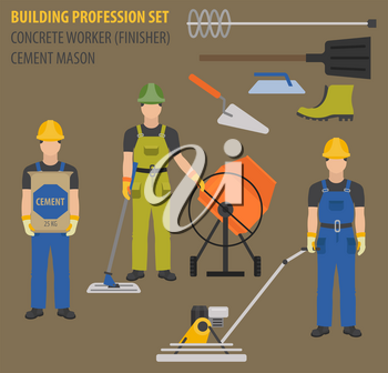 Profession and occupation set. Concrete worker tools and  equipment, mason`s uniform flat design icon.Vector illustration