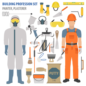 Profession and occupation set. Plasterer and painter tools and  equipment. Uniform flat design icon.Vector illustration