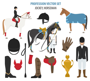 Profession and occupation set. jockey  equipment, horseman flat design icon.Vector illustration