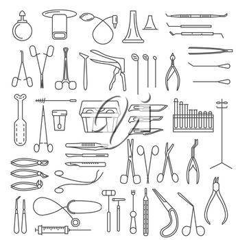 Medical instruments thin linear icon set. Gynecology, otorhinolaryngology, dentistry, surgery, therapy and other. Vector illustration