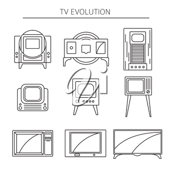 Television history. Evolution. Flat colour design vector icon set. Illustration