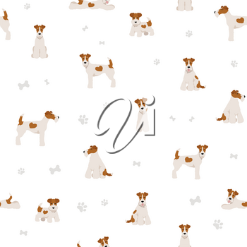 Wire fox terrier seamless pattern. Different poses, puppy.  Vector illustration