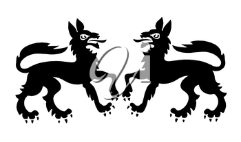 Royalty Free Clipart Image of Wolves