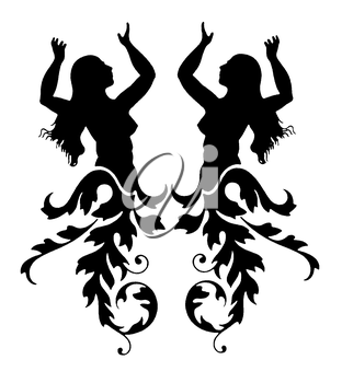 Royalty Free Clipart Image of Two Women With Flourishes