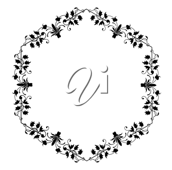 Royalty Free Clipart Image of a Floral Frame in a Hexagon Shape
