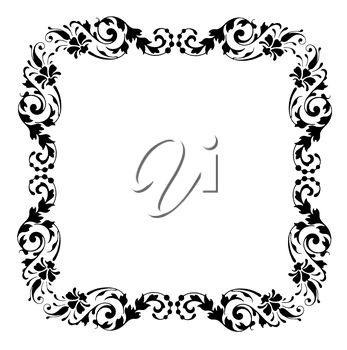 Royalty Free Clipart Image of a Square Floral Frame