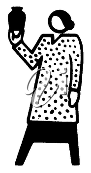 Royalty Free Clipart Image of a Woman Holding a Vase