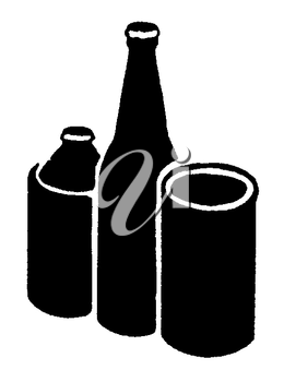 Royalty Free Clipart Image of Bottles and Containers
