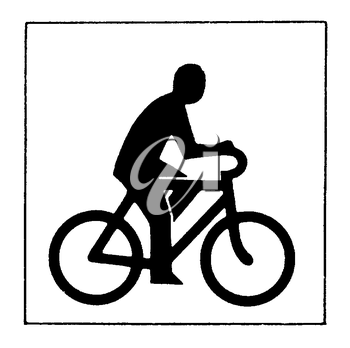 Royalty Free Clipart Image of a Man on a Bike