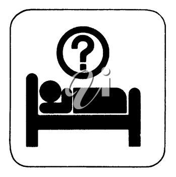 Royalty Free Clipart Image of a Person in a Bed With a Question Mark