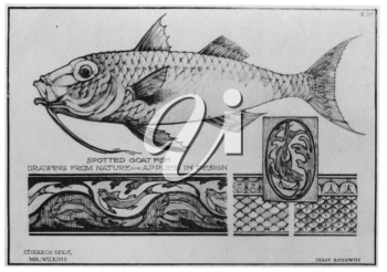 Royalty Free Clipart Image of a Goat fish and Inspirational Designs