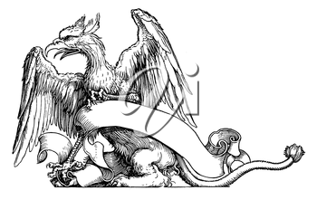 Royalty Free Clipart Image of a Gryphon