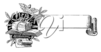 Royalty Free Clipart Image of a Banner and Books