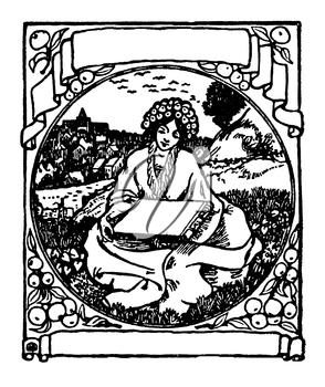 Royalty Free Clipart Image of a Woman in a Garden