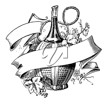 Royalty Free Clipart Image of a Wine Bottle with a Banner
