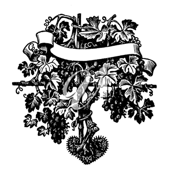 Royalty Free Clipart Image of a Plant Stake with Grapes