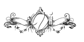 Royalty Free Clipart Image of a Frame and Banner