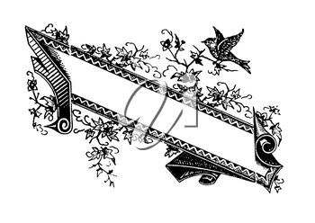 Royalty Free Clipart Image of a Banner with a Bird