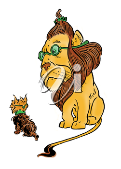 Royalty Free Clipart Image of a Lion and a Dog