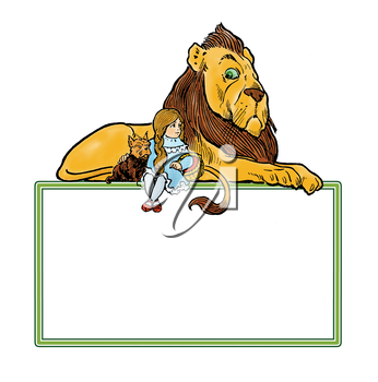 Royalty Free Clipart Image of a Lion, Girl, and Dog