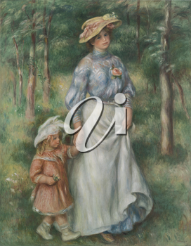 Royalty Free Clipart Image of a Painting of a Woman and Child